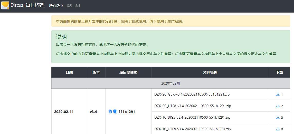 Discuz! X v3.4-20200211新版本即将发布,加入每日构建信息。